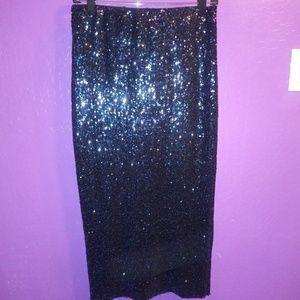 Forever 21 Blue Sequin Midi Skirt